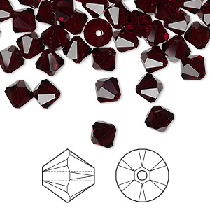 bead, swarovski crystals, garnet, 6mm xilion bicone (5328). sold per pkg of 360.