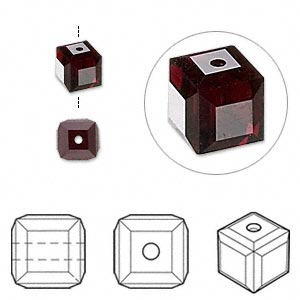 bead, swarovski crystals, garnet, 6x6mm faceted cube (5601). sold per pkg of 48.