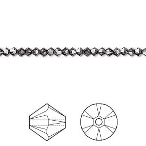 bead, swarovski crystals, graphite, 3mm xilion bicone (5328). sold per pkg of 1,440 (10 gross).