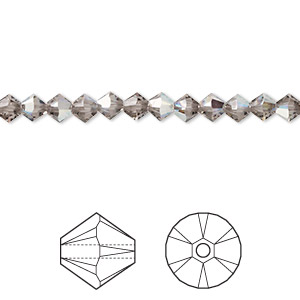bead, swarovski crystals, greige ab, 4mm xilion bicone (5328). sold per pkg of 1,440 (10 gross).