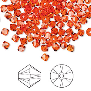 bead, swarovski crystals, hyacinth, 4mm xilion bicone (5328). sold per pkg of 144 (1 gross).