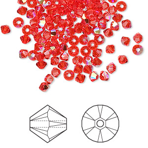 bead, swarovski crystals, hyacinth ab, 3mm xilion bicone (5328). sold per pkg of 144 (1 gross).