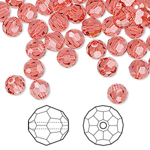 bead, swarovski crystals, indian pink, 6mm faceted round (5000). sold per pkg of 144 (1 gross).