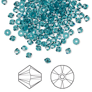 bead, swarovski crystals, indicolite, 3mm xilion bicone (5328). sold per pkg of 1,440 (10 gross).