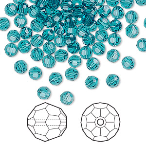 bead, swarovski crystals, indicolite, 4mm faceted round (5000). sold per pkg of 720 (5 gross).
