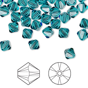 bead, swarovski crystals, indicolite, 6mm xilion bicone (5328). sold per pkg of 24.
