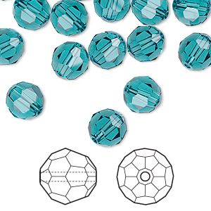 bead, swarovski crystals, indicolite, 8mm faceted round (5000). sold per pkg of 288 (2 gross).