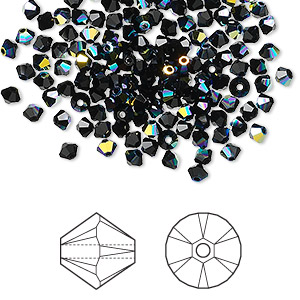 bead, swarovski crystals, jet ab, 3mm xilion bicone (5328). sold per pkg of 48.