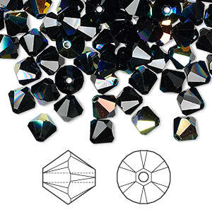 bead, swarovski crystals, jet ab, 6mm xilion bicone (5328). sold per pkg of 144 (1 gross).