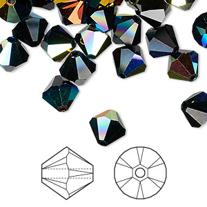 bead, swarovski crystals, jet ab, 8mm xilion bicone (5328). sold per pkg of 288 (2 gross).