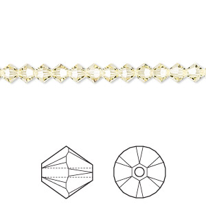 bead, swarovski crystals, jonquil, 4mm xilion bicone (5328). sold per pkg of 48.