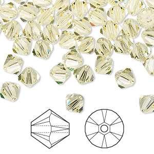 bead, swarovski crystals, jonquil, 6mm xilion bicone (5328). sold per pkg of 24.