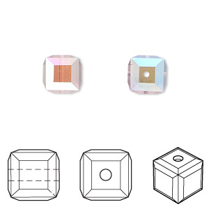 bead, swarovski crystals, light amethyst ab, 8x8mm faceted cube (5601). sold per pkg of 6.