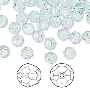 bead, swarovski crystals, light azore, 6mm faceted round (5000). sold per pkg of 360.