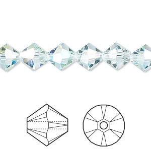 bead, swarovski crystals, light azore ab, 8mm xilion bicone (5328). sold per pkg of 288 (2 gross).