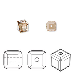 bead, swarovski crystals, light colorado topaz, 6x6mm faceted cube (5601). sold per pkg of 48.