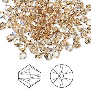 bead, swarovski crystals, light colorado topaz ab, 4mm xilion bicone (5328). sold per pkg of 1,440 (10 gross).