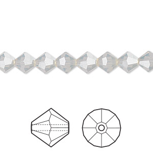 bead, swarovski crystals, light grey opal, 6mm faceted bicone (5301). sold per pkg of 24.