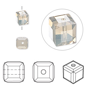 bead, swarovski crystals, light grey opal, 6x6mm faceted cube (5601). sold per pkg of 48.