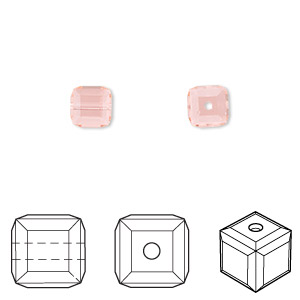 bead, swarovski crystals, light peach, 6x6mm faceted cube (5601). sold per pkg of 48.