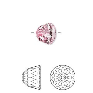 bead, swarovski crystals, light rose, 10x8mm faceted dome small (5542). sold per pkg of 96.