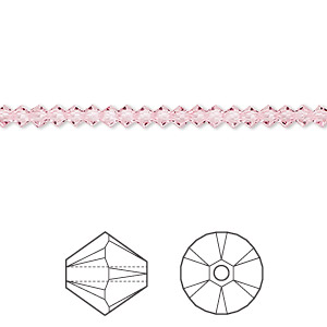 bead, swarovski crystals, light rose, 3mm xilion bicone (5328). sold per pkg of 144 (1 gross).