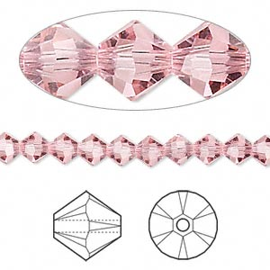 bead, swarovski crystals, light rose, 5mm xilion bicone (5328). sold per pkg of 24.