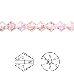 bead, swarovski crystals, light rose ab, 6mm xilion bicone (5328). sold per pkg of 360.