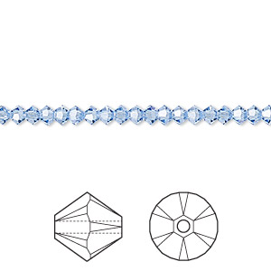 bead, swarovski crystals, light sapphire, 3mm xilion bicone (5328). sold per pkg of 48.
