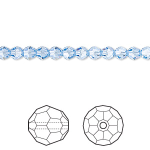 bead, swarovski crystals, light sapphire, 4mm faceted round (5000). sold per pkg of 12.