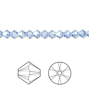 bead, swarovski crystals, light sapphire shimmer, 4mm xilion bicone (5328). sold per pkg of 1,440 (10 gross).