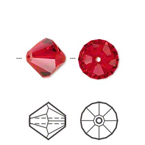 bead, swarovski crystals, light siam, 12mm faceted bicone (5301). sold per pkg of 2.