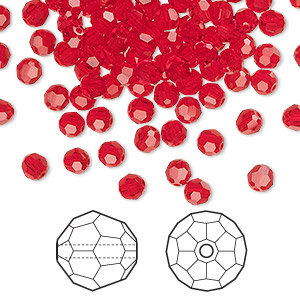 bead, swarovski crystals, light siam, 4mm faceted round (5000). sold per pkg of 720 (5 gross).