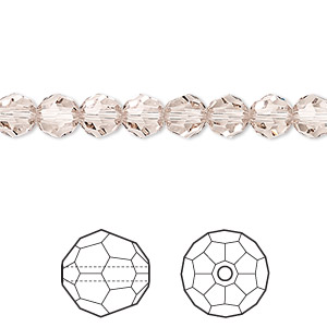 bead, swarovski crystals, light silk, 6mm faceted round (5000). sold per pkg of 360.