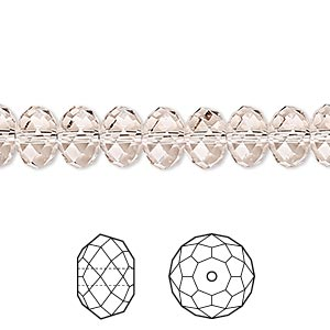 bead, swarovski crystals, light silk, 8x6mm faceted rondelle (5040). sold per pkg of 288 (2 gross).