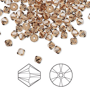 bead, swarovski crystals, light smoked topaz, 4mm xilion bicone (5328). sold per pkg of 48.