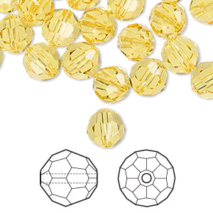 bead, swarovski crystals, light topaz, 8mm faceted round (5000). sold per pkg of 288 (2 gross).