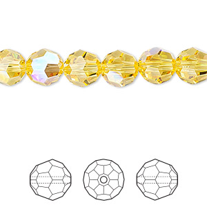 bead, swarovski crystals, light topaz shimmer, 8mm faceted round (5000). sold per pkg of 288 (2 gross).