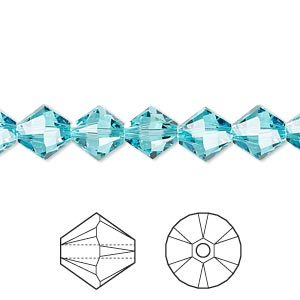 bead, swarovski crystals, light turquoise, 8mm xilion bicone (5328). sold per pkg of 288 (2 gross).