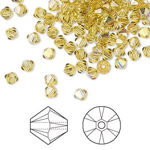 bead, swarovski crystals, lime ab, 4mm xilion bicone (5328). sold per pkg of 1,440 (10 gross).
