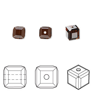 bead, swarovski crystals, mocca, 6x6mm faceted cube (5601). sold per pkg of 144 (1 gross).