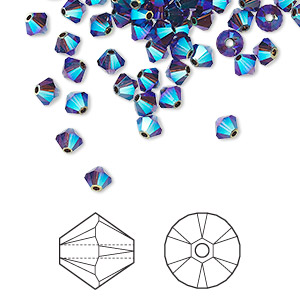 bead, swarovski crystals, mocca ab2x, 4mm xilion bicone (5328). sold per pkg of 1,440 (10 gross).