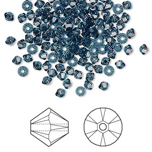 bead, swarovski crystals, montana, 3mm xilion bicone (5328). sold per pkg of 144 (1 gross).