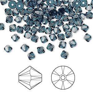 bead, swarovski crystals, montana, 4mm xilion bicone (5328). sold per pkg of 48.