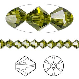 bead, swarovski crystals, olivine, 5mm xilion bicone (5328). sold per pkg of 144 (1 gross).