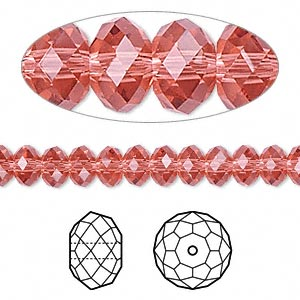 bead, swarovski crystals, padparadscha, 6x4mm faceted rondelle (5040). sold per pkg of 144 (1 gross).