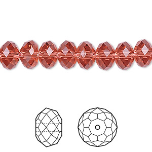 bead, swarovski crystals, padparadscha, 8x6mm faceted rondelle (5040). sold per pkg of 288 (2 gross).