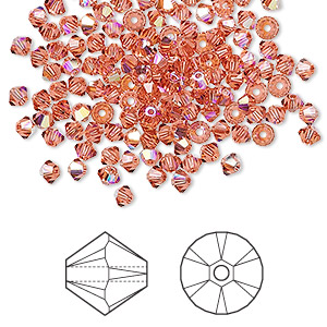 bead, swarovski crystals, padparadscha ab, 3mm xilion bicone (5328). sold per pkg of 1,440 (10 gross).