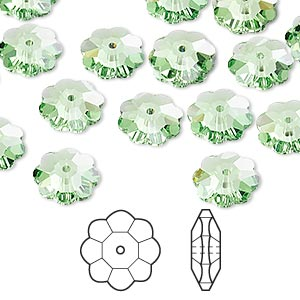 bead, swarovski crystals, peridot, 10x3.5mm faceted marguerite lochrose flower (3700). sold per pkg of 288 (2 gross).