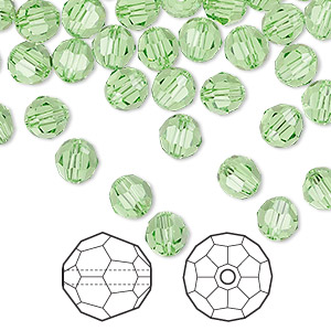 bead, swarovski crystals, peridot, 6mm faceted round (5000). sold per pkg of 360.